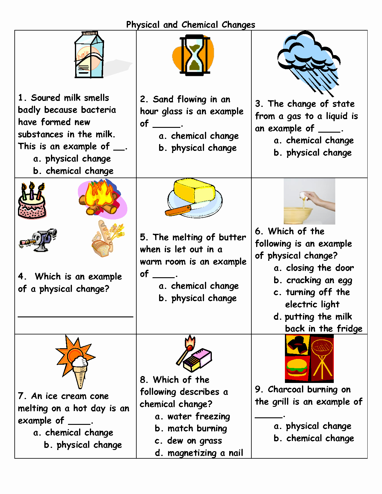 Changes In Matter Worksheet Awesome Physical to Chemical Changes