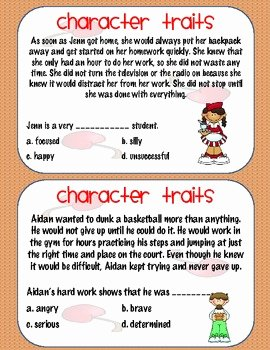 Character Traits Worksheet 3rd Grade Best Of Character Traits Activity 2nd 3rd or 4th Grade by Ms