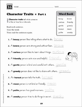 Character Traits Worksheet 3rd Grade Best Of Character Traits Content Words Grade 2 Vocabulary