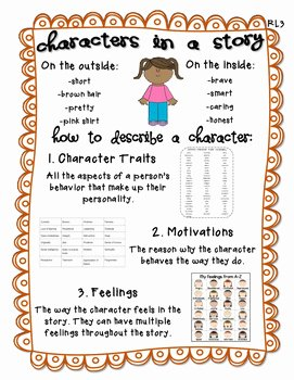 Character Traits Worksheet 3rd Grade Best Of Rl3 Describing A Character Anchor Chart 3rd Grade by
