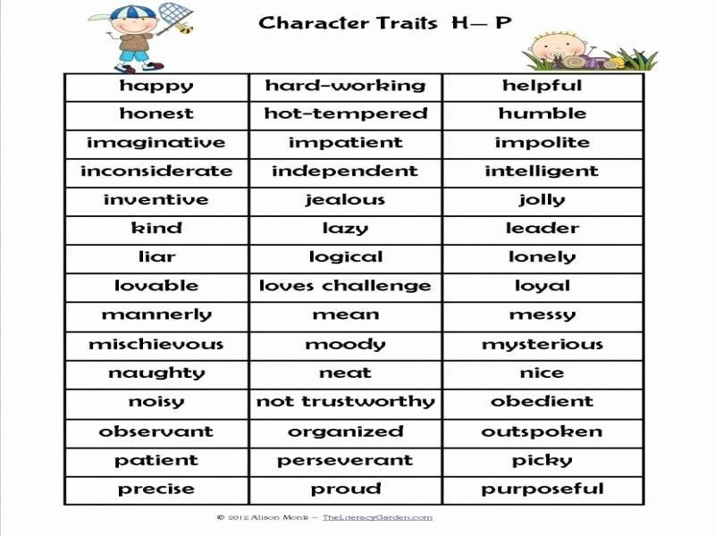 Character Traits Worksheet 3rd Grade Elegant Character Traits Worksheet 3rd Grade Free Printable