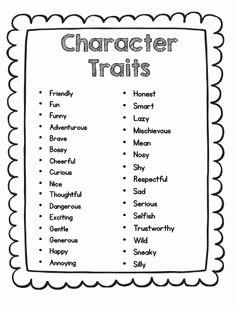 Character Traits Worksheet 3rd Grade Elegant Free Character Trait List for Primary Grades How Might