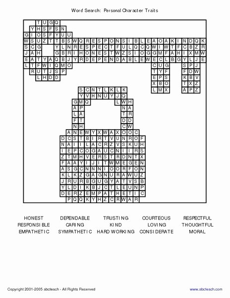 Character Traits Worksheet 3rd Grade Fresh Word Search Personal Character Traits Worksheet for 2nd