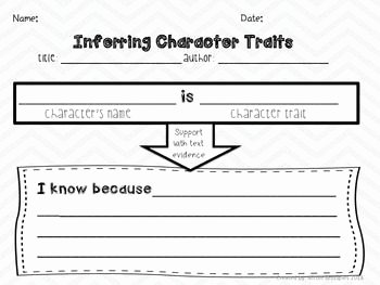 Character Traits Worksheet 3rd Grade Inspirational Inferring Character Traits Graphic organizer & Traits