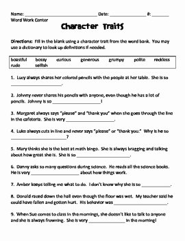 Character Traits Worksheet 3rd Grade Lovely Character Traits Fill In the Blank Worksheet by Lisa