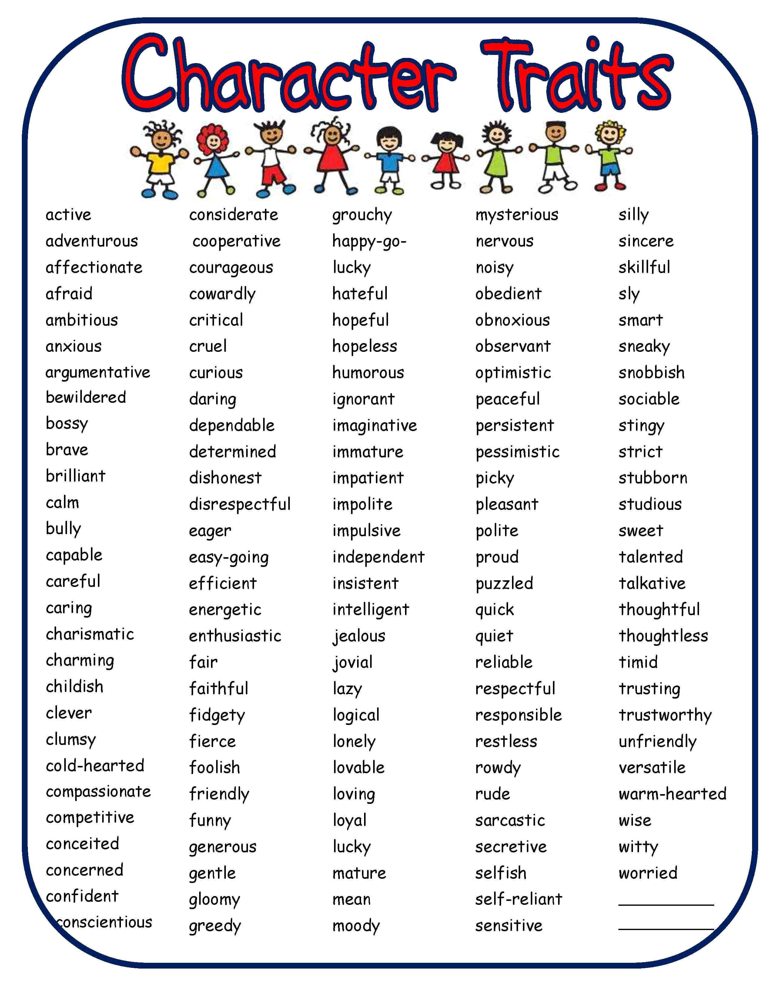 Character Traits Worksheet 3rd Grade Luxury Bringing Characters to Life In Writer S Workshop