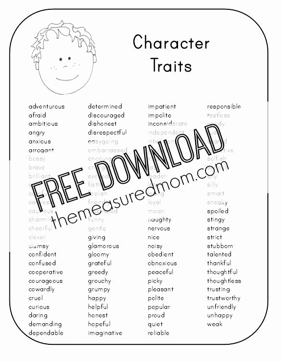 Character Traits Worksheet 3rd Grade Unique Character Traits Worksheets 3rd Grade the Best Worksheets
