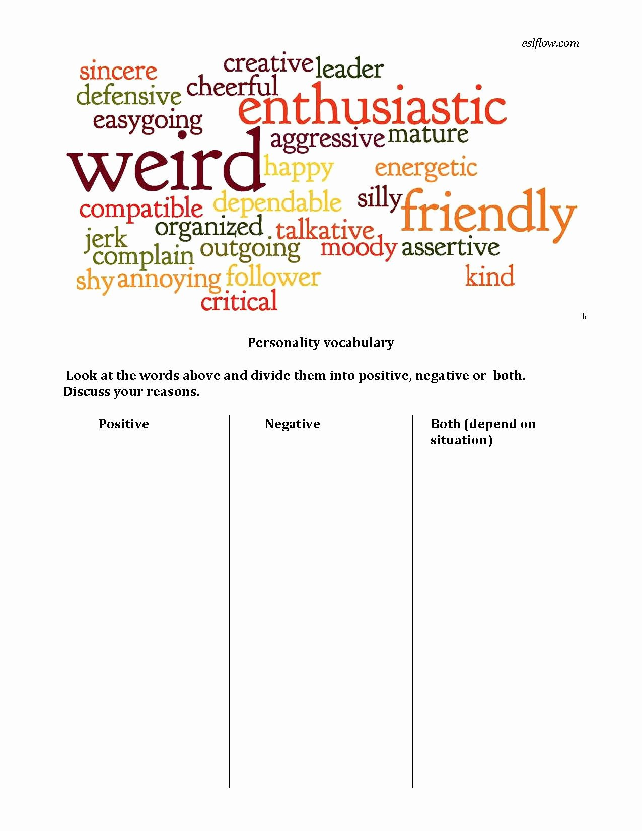 Character Traits Worksheet Pdf Awesome Personality Adjective Vocabulary Worksheet Eslflow