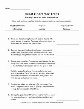 Character Traits Worksheet Pdf Beautiful Character Traits Elem