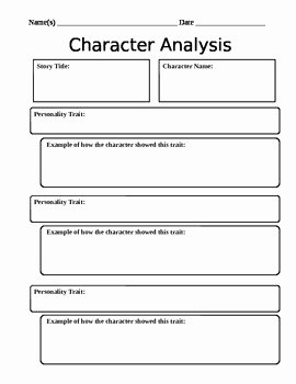 Character Traits Worksheet Pdf Elegant Character Analysis Worksheet by Mightier Than the Sword
