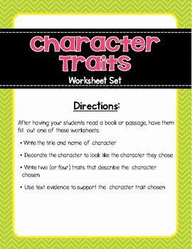 Character Traits Worksheet Pdf Elegant Character Traits Graphic organizer Worksheet by Your