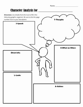 Character Traits Worksheet Pdf Unique Character Analysis Graphic organizer Using S T E A L