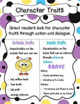 Character Traits Worksheet Pdf Unique Character Traits Anchor Chart by All About that Learning