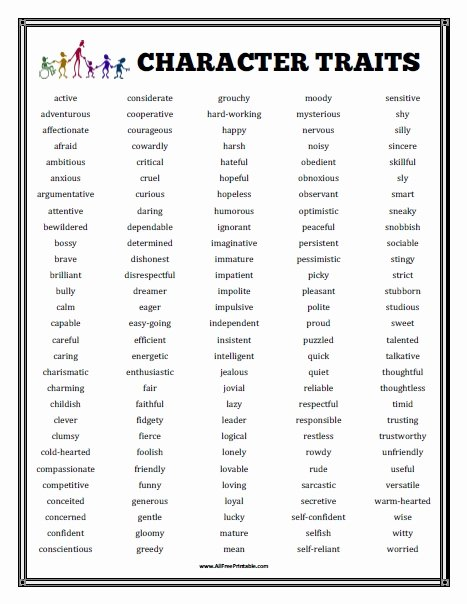 Character Traits Worksheet Pdf Unique Character Traits List Free Printable Allfreeprintable
