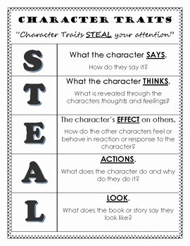 Character Traits Worksheet Pdf Unique Character Traits Mnemonic Device Steal by Cooking Up