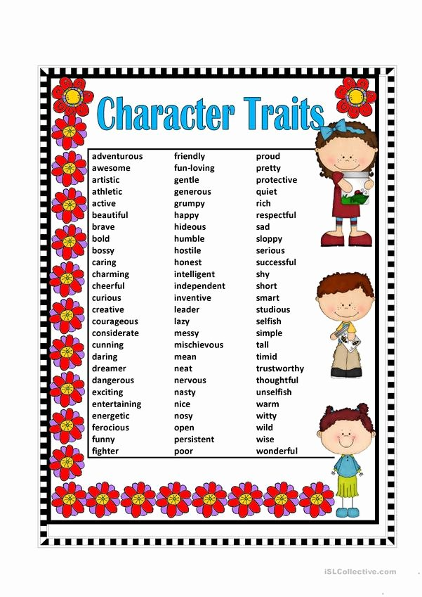 Character Traits Worksheet Pdf Unique Character Traits Worksheet Free Esl Printable Worksheets