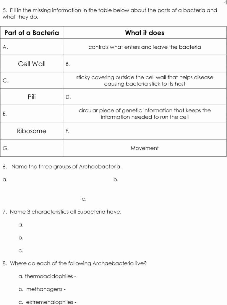 Characteristics Of Bacteria Worksheet Elegant Characteristics Bacteria Worksheet