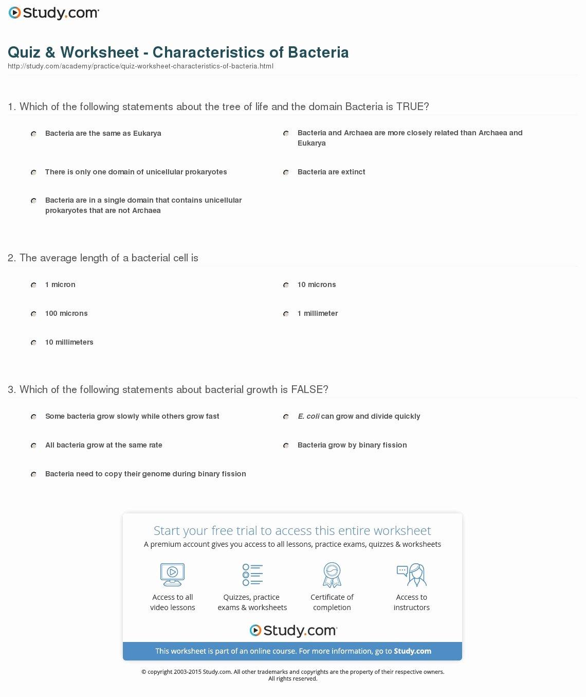 Characteristics Of Bacteria Worksheet Fresh Quiz & Worksheet Characteristics Of Bacteria