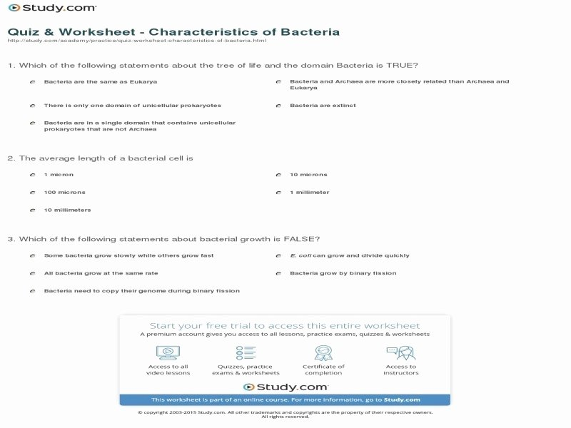 Characteristics Of Bacteria Worksheet Lovely Prokaryotes Bacteria Worksheet Answers Free Printable