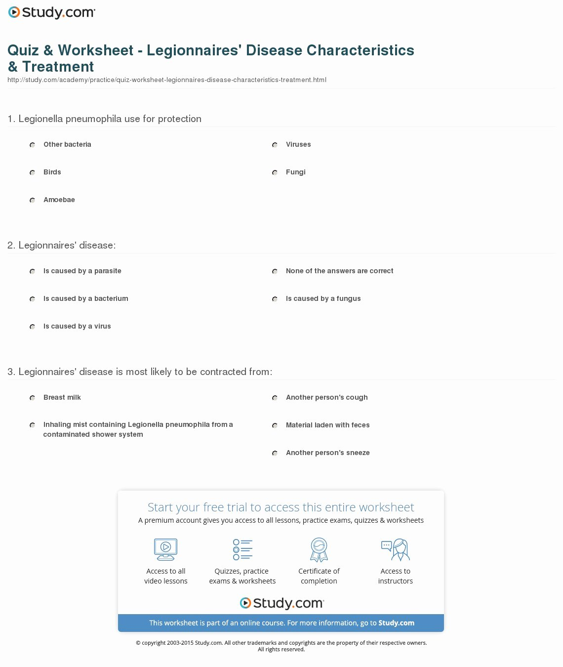 Characteristics Of Bacteria Worksheet Luxury Quiz & Worksheet Legionnaires Disease Characteristics