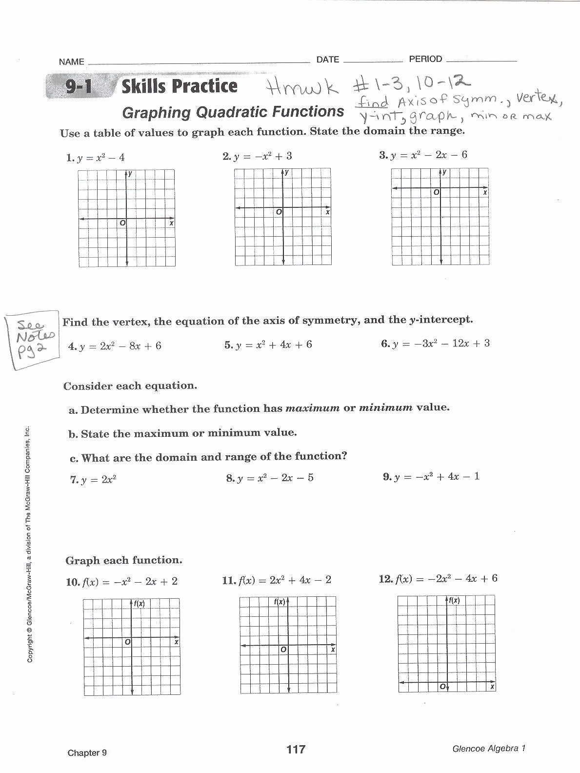 Characteristics Of Functions Worksheet Awesome Characteristics Quadratic Functions New Worksheet