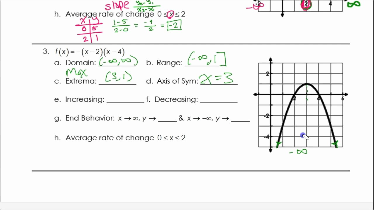 Characteristics Of Functions Worksheet Fresh Day 1 Hw 2 and 3 Characteristics Of Quadratic Functions