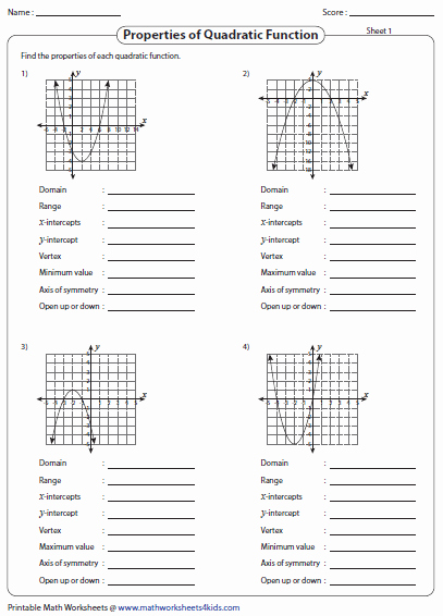 Characteristics Of Functions Worksheet Inspirational Graphing Quadratic Function Worksheets
