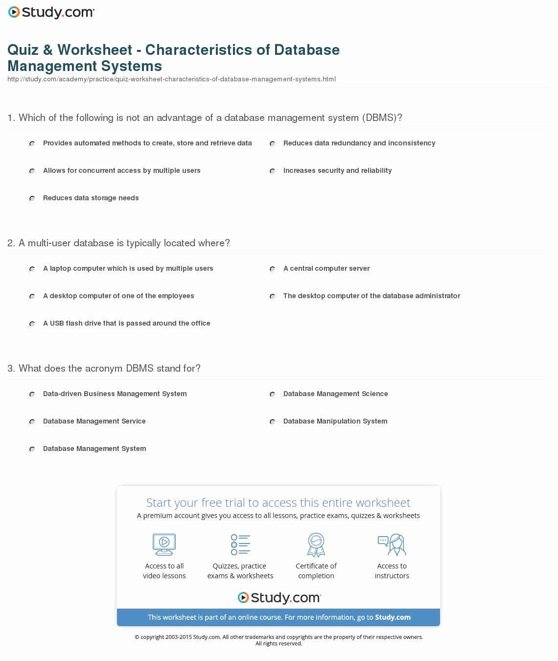Characteristics Of Functions Worksheet Inspirational Quiz & Worksheet Characteristics Of Database Management