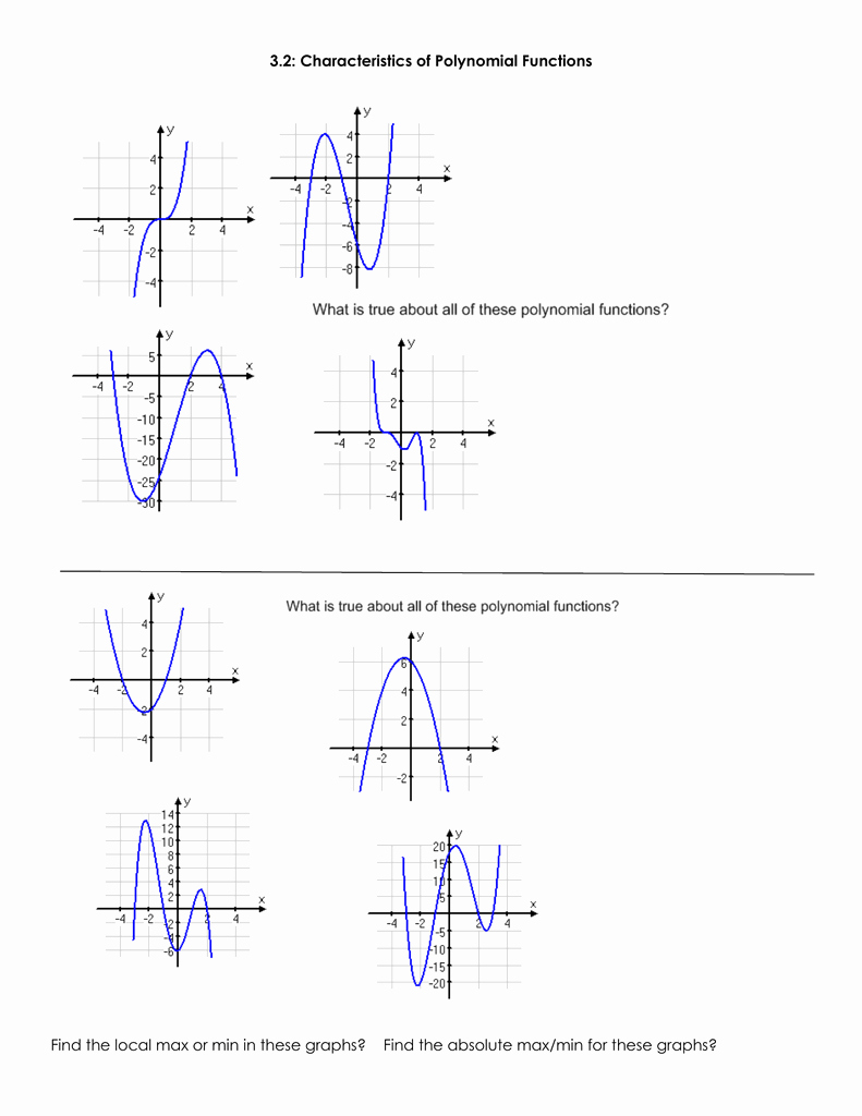 Characteristics Of Functions Worksheet New 3 2 Characteristics Of Polynomial Functions