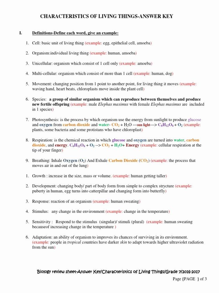 Characteristics Of Life Worksheet Answers Beautiful Characteristics Living Things Worksheet Answers Key