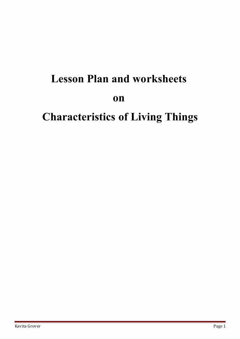 Characteristics Of Life Worksheet Answers Inspirational Lesson Plan and Worksheets On Characteristics Of Living Lhings