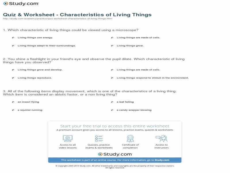 Characteristics Of Life Worksheet Answers Lovely Characteristics Living Things Worksheet Answers Free
