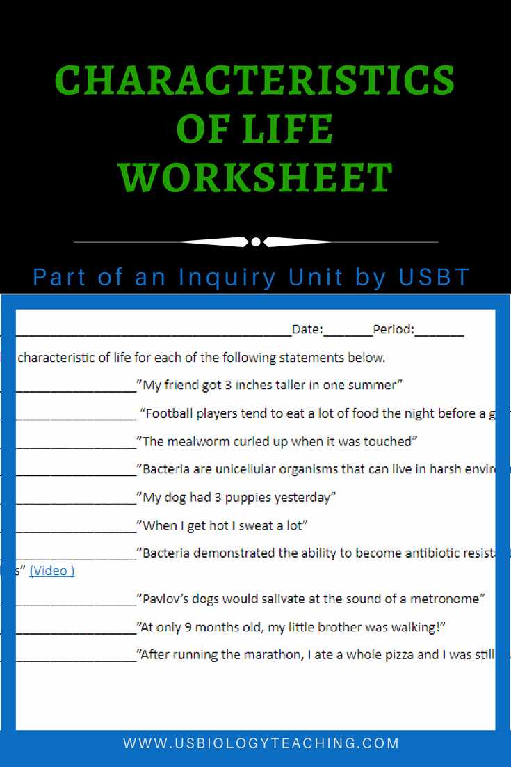 Characteristics Of Life Worksheet Answers Lovely Usbiologyteaching A source for Biology Lesson Plans