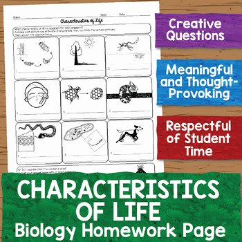 Characteristics Of Life Worksheet New Characteristics Of Life Biology Homework Worksheet by