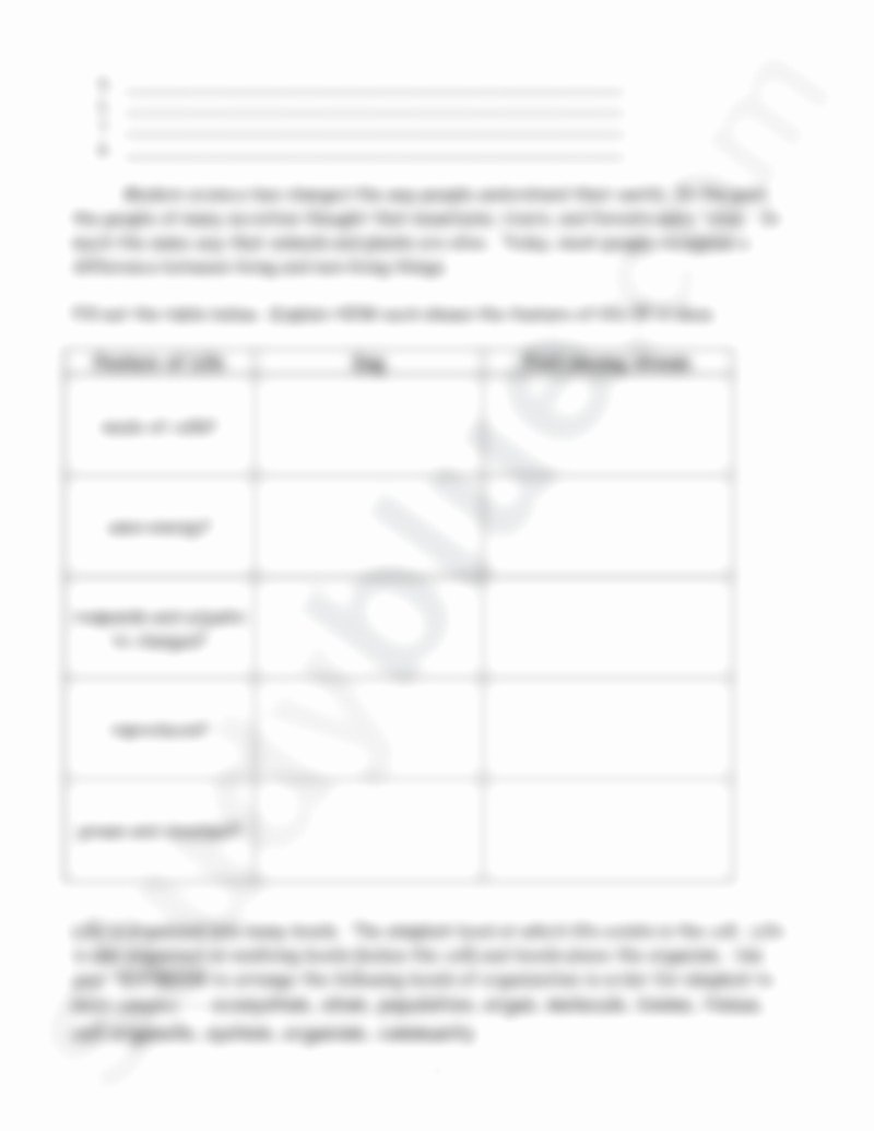 Characteristics Of Life Worksheet New Characteristics Of Lifereview Worksheetc Biology 340
