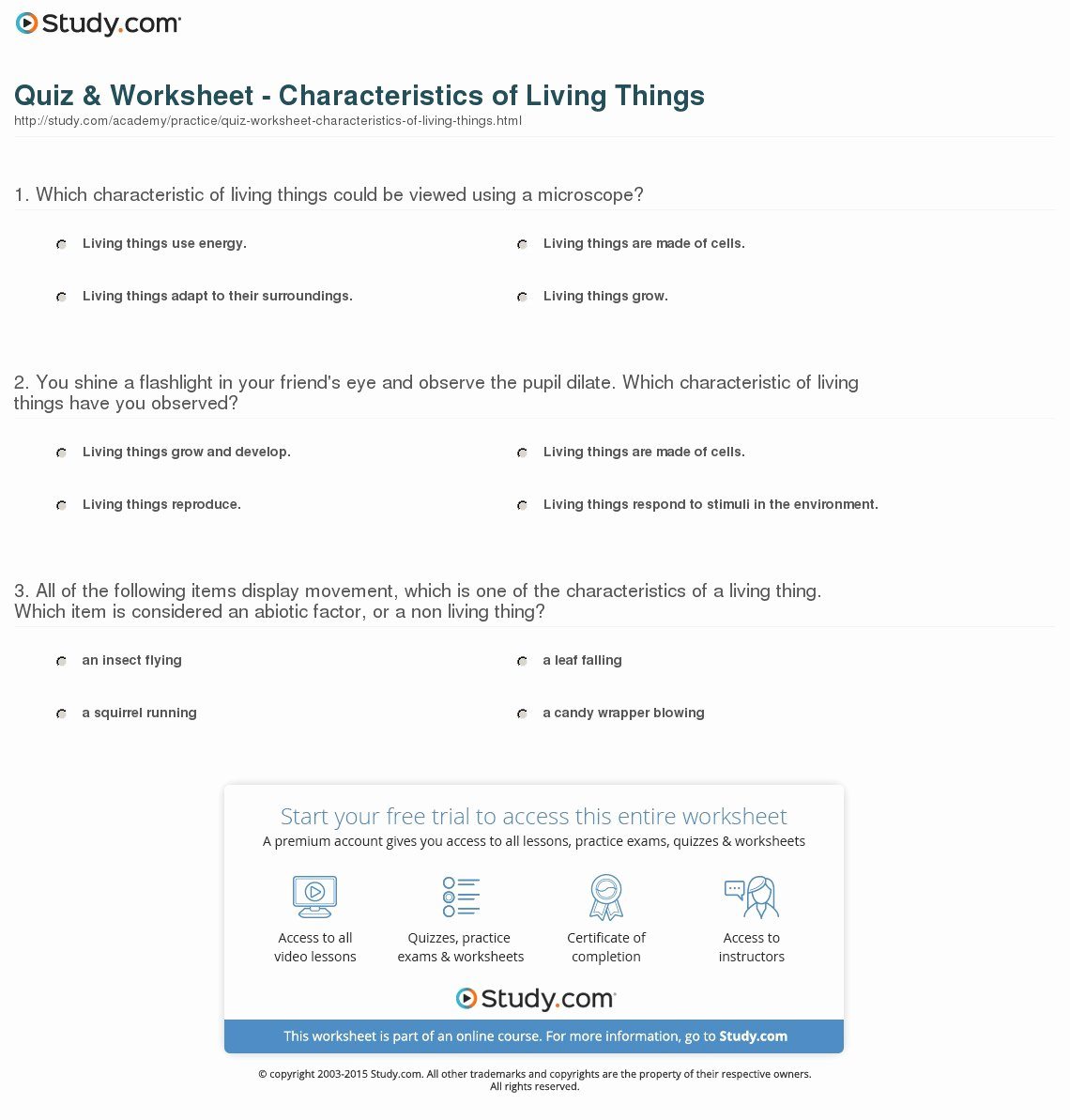 Characteristics Of Life Worksheet Unique Quiz & Worksheet Characteristics Of Living Things