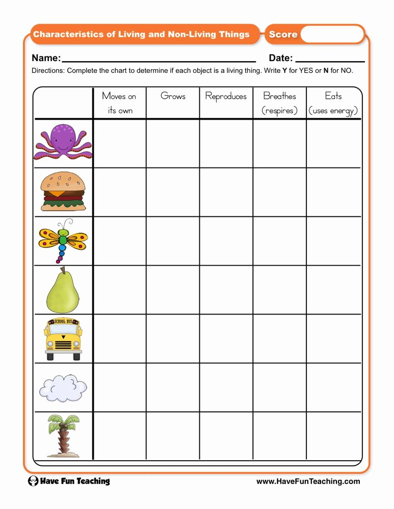 Characteristics Of Living Things Worksheet Awesome Characteristics Of Living and Non Living Things Worksheet
