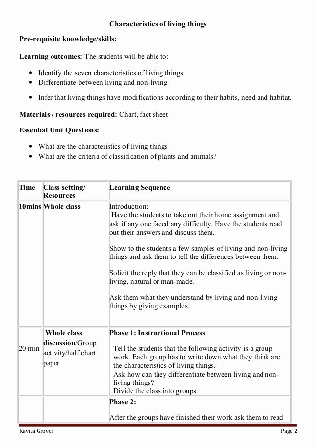 Characteristics Of Living Things Worksheet Beautiful Lesson Plan and Worksheets On Characteristics Of Living Lhings