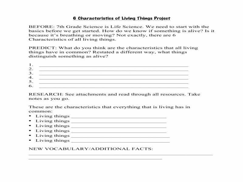 Characteristics Of Living Things Worksheet New Characteristics Living Things Worksheet Free