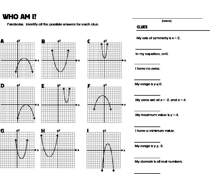 Characteristics Of Quadratic Functions Worksheet Best Of Quadratic