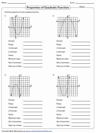 Characteristics Of Quadratic Functions Worksheet Fresh Graphing Quadratic Function Worksheets