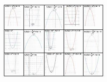 Characteristics Of Quadratic Functions Worksheet Lovely Features Of Quadratic Functions Worksheet by Algebra is My