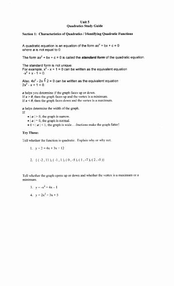 Characteristics Of Quadratic Functions Worksheet Luxury 5 1 Study Guide and Intervention Graphing Quadratic