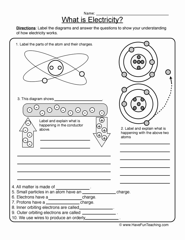 Charge and Electricity Worksheet Answers Awesome Resources Science Matter