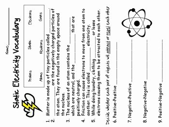 Charge and Electricity Worksheet Answers Awesome Static Electricity Worksheet by Amanda Early