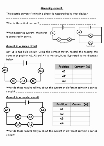 Charge and Electricity Worksheet Answers Beautiful Measuring Current & Voltage Electrical Circuits by