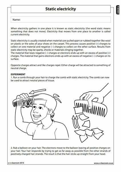 Charge and Electricity Worksheet Answers Beautiful Static Electricity Natural Science Worksheet Grade 6