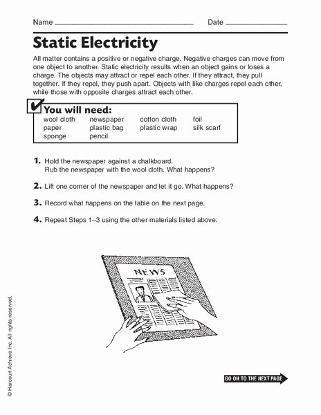 Charge and Electricity Worksheet Answers Inspirational Static Electricity Worksheet for 7th 9th Grade