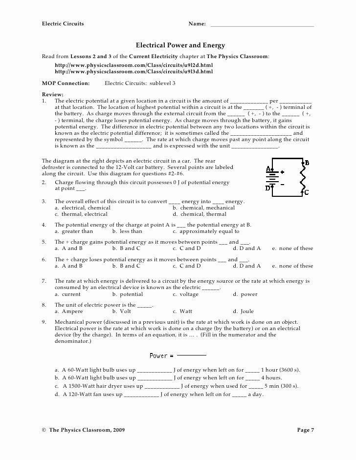 Charge and Electricity Worksheet Answers Lovely Circuit Worksheets