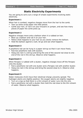 Charge and Electricity Worksheet Answers New Electrostatics Worksheets by Mousey80 Teaching Resources